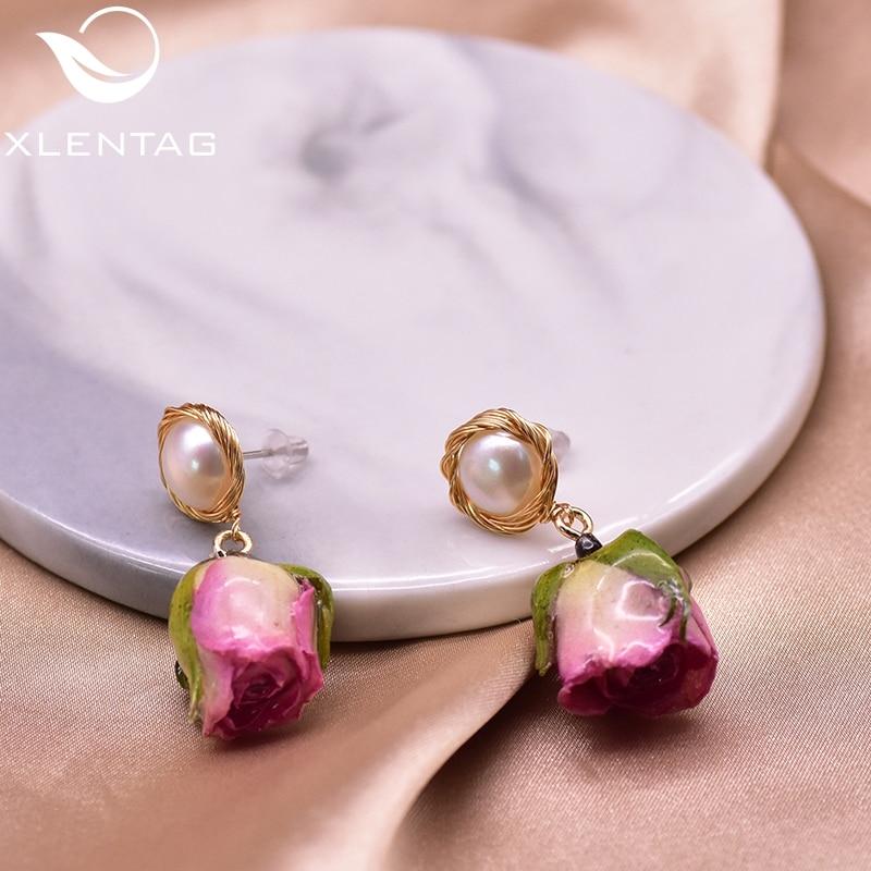 XlentAg Vintage Natural Pink Purple Rose Dangle Women Earrings Boho Wedding Gifts Fine Pearls Jewerly Original Designer GE0930A