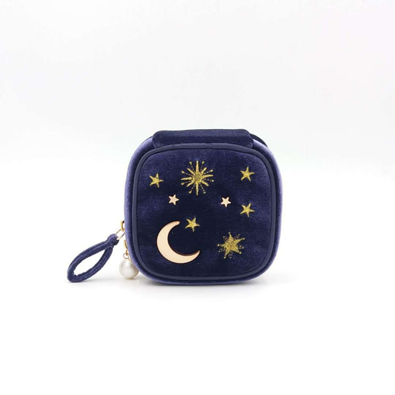 Starmoon Embroidery Jewelry Box Travel Portable Mini Square Jewelry Box Ring Nail Earring Necklace Storage Bag