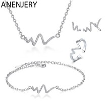 ANENJERY – ensemble de bijoux en argent Sterling 925, collier + boucles d'oreilles + bague + Bracelet en Zircon avec courbes de battements de cœur pour femmes, bijoux de mariage