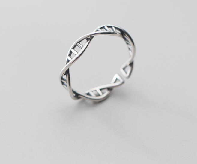 2MM-4MM THIN Size6.5-6.75 REAL.925 Sterling Silver FINE Molecule Ring Adjust GTLJ1681