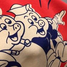 2020 primavera e verão novas mulheres três pequenos porcos imprimir lantejoulas letras casuais de alta qualidade solto de manga curta algodão camiseta