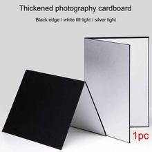 3 in1 multiuso para fotografia luz de papelão refletor dobrável branco preto prata absorver luz grossa papel reflexivo