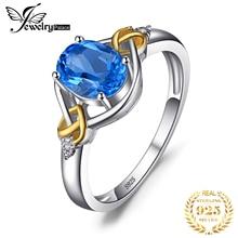 JPalace القلب عقدة حقيقية الأزرق توباز خاتم الماس 925 فضة خواتم للنساء خاتم الخطوبة الفضة 925 مجوهرات الأحجار الكريمة