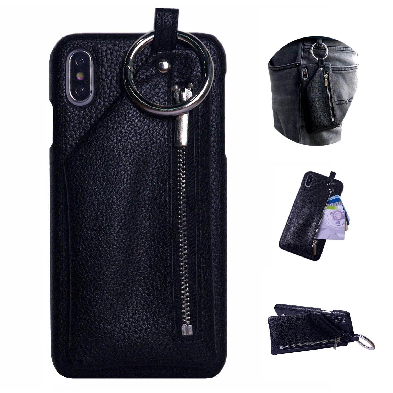 Für iPhone 11 Pro Max Brieftasche Fall Xs Max Xr X 10 8 7 6 6s Plus Leder Abdeckung schnalle Ring für AirPod Zipper Tasche Karte Halter