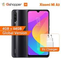 "In Stock Global Version Xiaomi Mi A3 MiA3 4GB 64GB 32MP+48MP Camera 4030mAh Mobile Phone Snapdragon 665 Octa Core 6.088"" AMOLED"