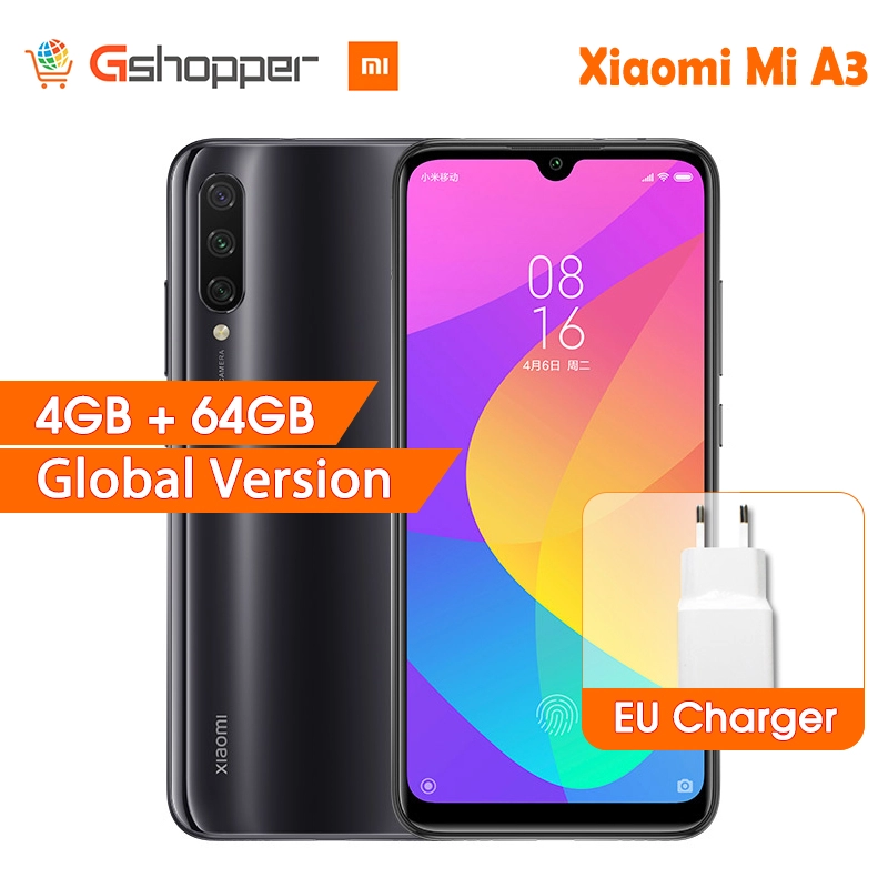 "In Stock Global Version Xiaomi Mi A3 MiA3 4GB 64GB 32MP+48MP Camera 4030mAh Mobile Phone Snapdragon 665 Octa Core 6.088"" AMOLED"