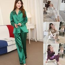 Vertvie Womens Satin Pajamas Sets Two Piece Faux Silk Sleepw