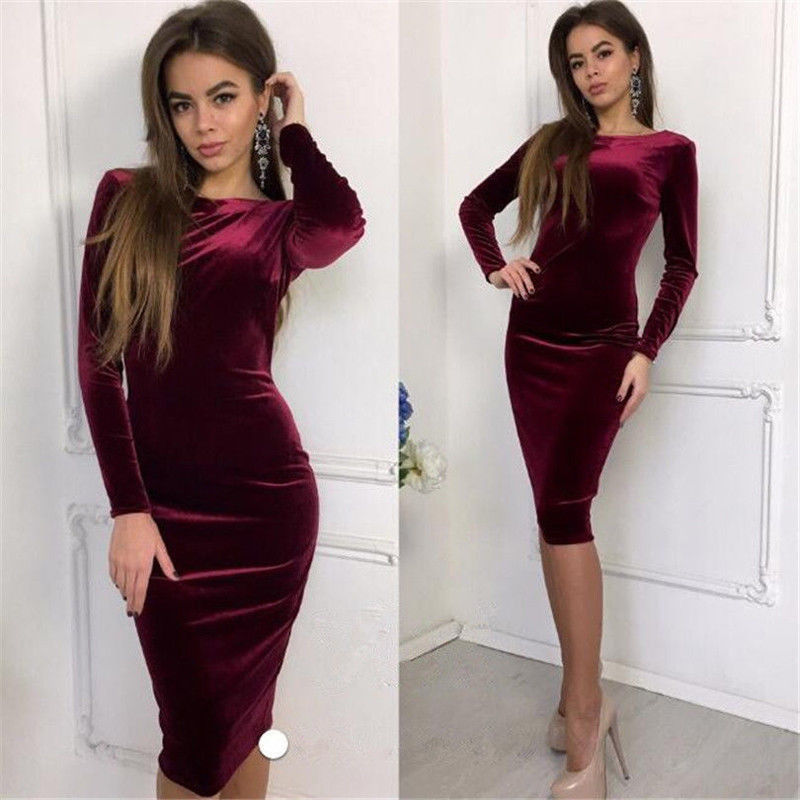Vintage Dress Women Sexy Long Sleeve Solid Sheath Dress Sexy Bodycon Dress Evening Party Midi Dress Ladies Velvet Dresses