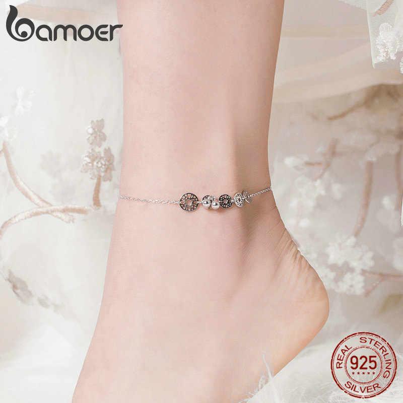 Bamoer เหรียญรอบ Anklets สำหรับผู้หญิง 925 เงินสเตอร์ลิงอุปกรณ์เสริมเท้าข้อเท้าบนขาเครื่องประดับของขวัญเท้าสาว SCT006