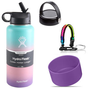 Water-Bottle Paracord-Handle Hydro Flask Bottom Stainless-Steel 40oz Vacuum-Insulated-Wide-Mouth