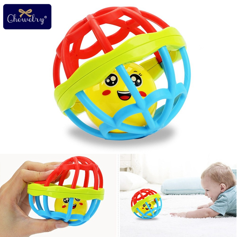 1pc Baby Rattles Toy Ball Ring Silicone Teether Training Grasping Ability Rattles Baby Teething Play Gym Toys For Children Goods