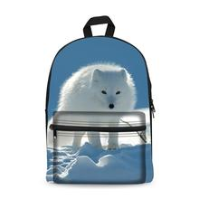 купить Animal Fox Design Canvas Backpack Black Daypack laptop Bag for Boys Girls School Bag Mochila Bookbag дешево