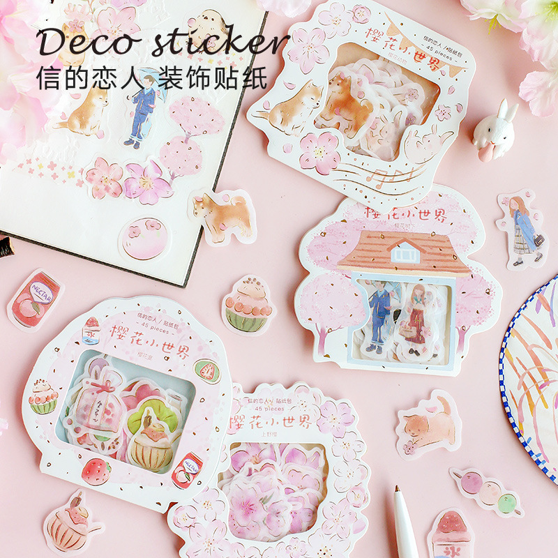 Sakura World Series Gilding Journal Decorative Stickers Adhesive Stickers DIY Decoration Diary Stationery Stickers Children Gift