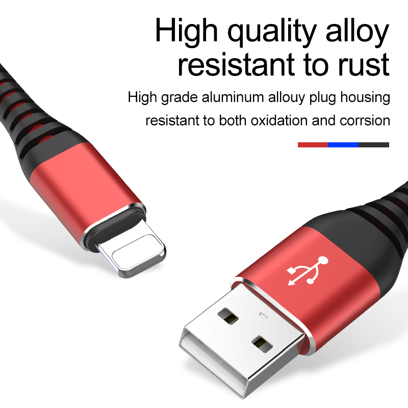 Image 3 - 3.1A USB Cable For iPhone X 8 7 6 6S plus 5 5S Cable Hi Tensile Fast Charging Data Cable Quick Charger for apple device-in Mobile Phone Cables from Cellphones & Telecommunications