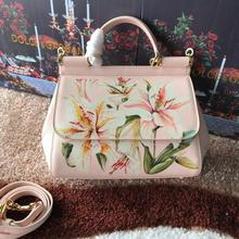 Luxury brand 25cm spring and summer new medium-sized color lily printed cowhide fashion leather single shoulder inclined handbag