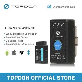 цена на TOPDON AutoMate ELM327 Bluetooth pic18f25k80 OBD2 Scanner ELM327 WIFI V1.5 Auto OBDII Full Function Diagnostic Tool Code Reader