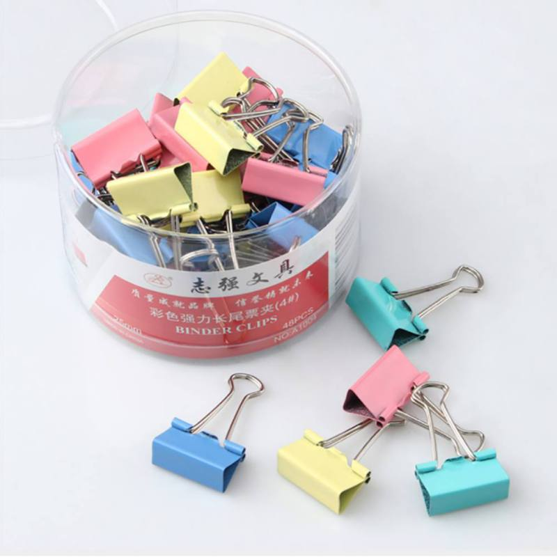 1Pc 19mm Colorful Metal Binder Clips Paper Clip Office Stationery Binding Supplies Random Color