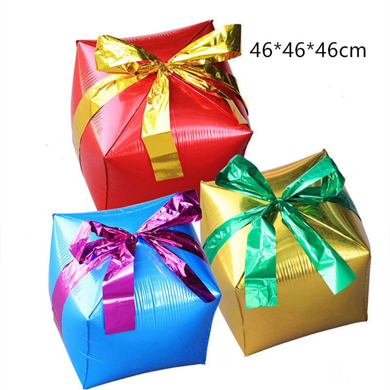 Cartoon Hat Gift Box Cube Foil Balloons Christmas Party Decorations Party Balloons Wedding Balloons Classic Toys