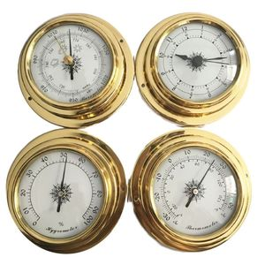Image 5 - 4 Inches 4 PCS/set Thermometer Hygrometer Barometer Watches Clock Copper Shell Zirconium Marine for Weather Station