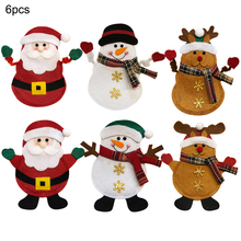 6PCS Christmas Cutlery Suit Knifes Folks Bag Tableware Holder Pockets Table Dinner Decor Xmas New Year Party Decoration