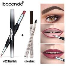 Dropship Matte Dual Head Lipstick Lipliner Pen Waterproof Eyebrow Pencil Set Long Lasting Nude Makeup Cosmetic dfdf