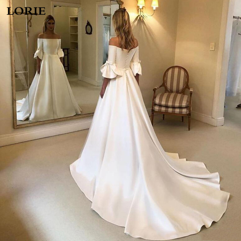 LORIE Princess Wedding Dresses Flare Sleeve Off The Shoulder Wedding Bride Dresses Long Train Buttons Back Wedding Ball Gown