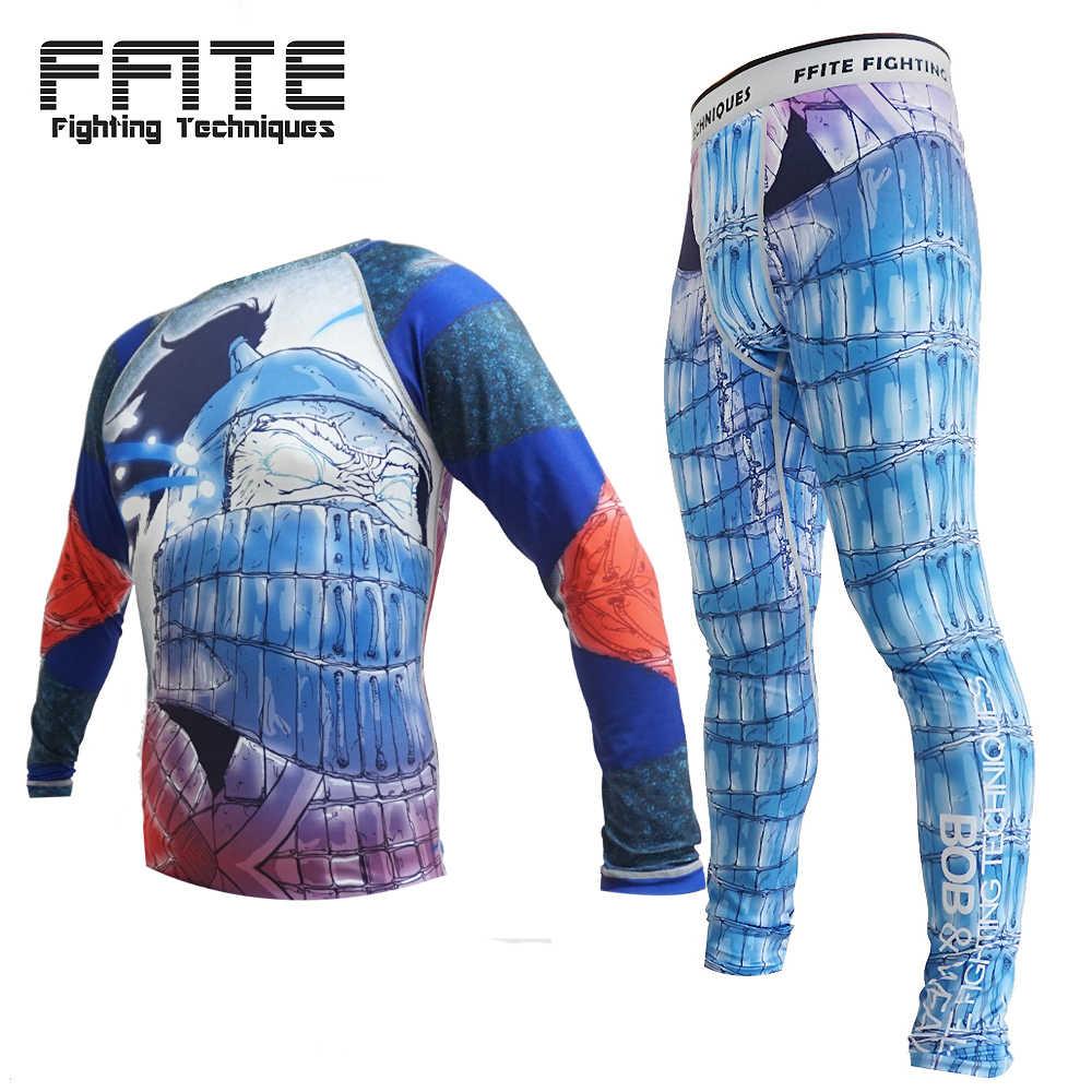 Conjunto de boxe Compressão Jersey + Calças Crânio Calças Apertadas Longas Camisetas Muay Thai KickBoxing MMA Rashguard Fightwea