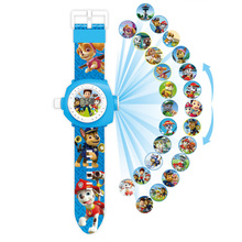 Paw Patrol Dog Watch Cartoon Figure Model Big Head Flip Electronic Projection Wa