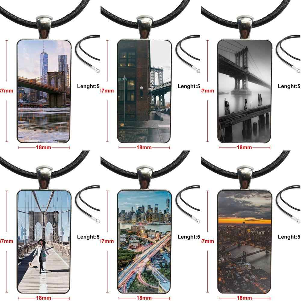 Для детей стеклянный подвесной брелок ожерелье прямоугольник модное Nyc Бруклин