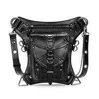 Black PU Leather Women/Men Leg Bags Steampunk Waist Thigh Hip Holster Wallet Purse Pouch Belt Bag Girls Cross Body Shoulder Bags