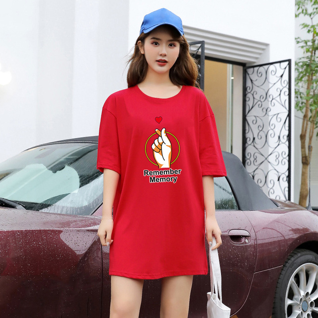 Long tops hand letter printed loose  Cotton T-shirt with short sleeve Graphic Tees Women