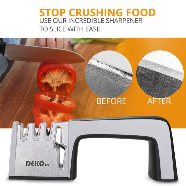 DEKO 4 In 1 Stainless Steel Scissors Tools Diamond Sharpening Whetstone Stone Non-Slip Knife Sharpener 5