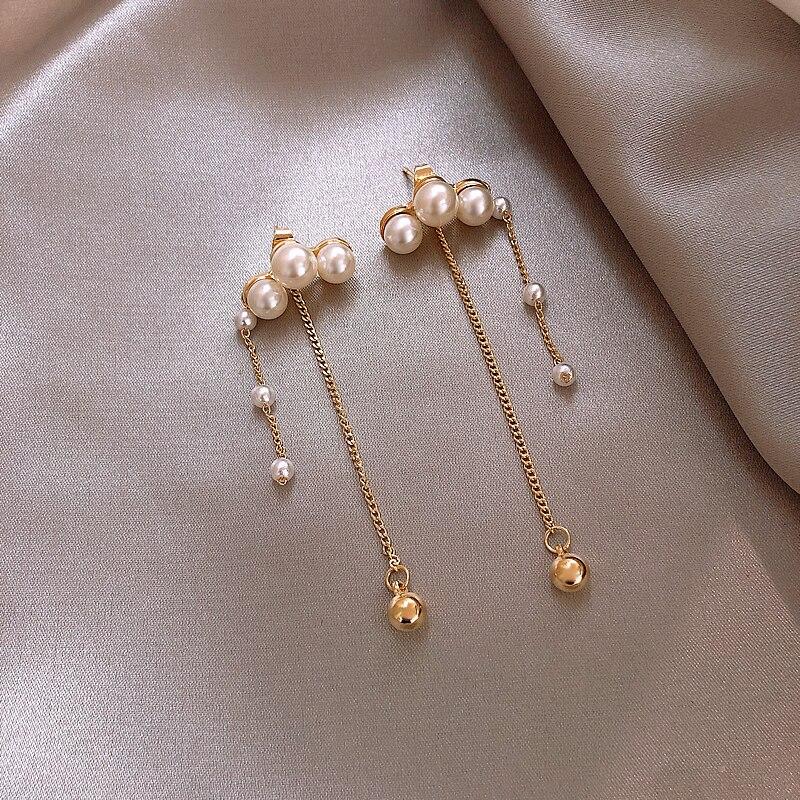 Haute qualité français perle sauvage longue gland 925 argent boucle d'oreille pour les femmes le meilleur cadeau d'anniversaire réception bijoux accessoires - 2