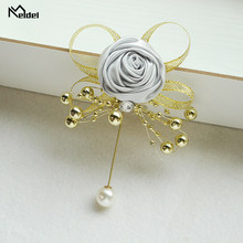 Meldel Men Suit Boutonniere Corsage Pin Flowers Artificial Wedding Corsages and Brooches Wedding Witness Prom Marriage Corsages Dress Accessories Flowers(China)