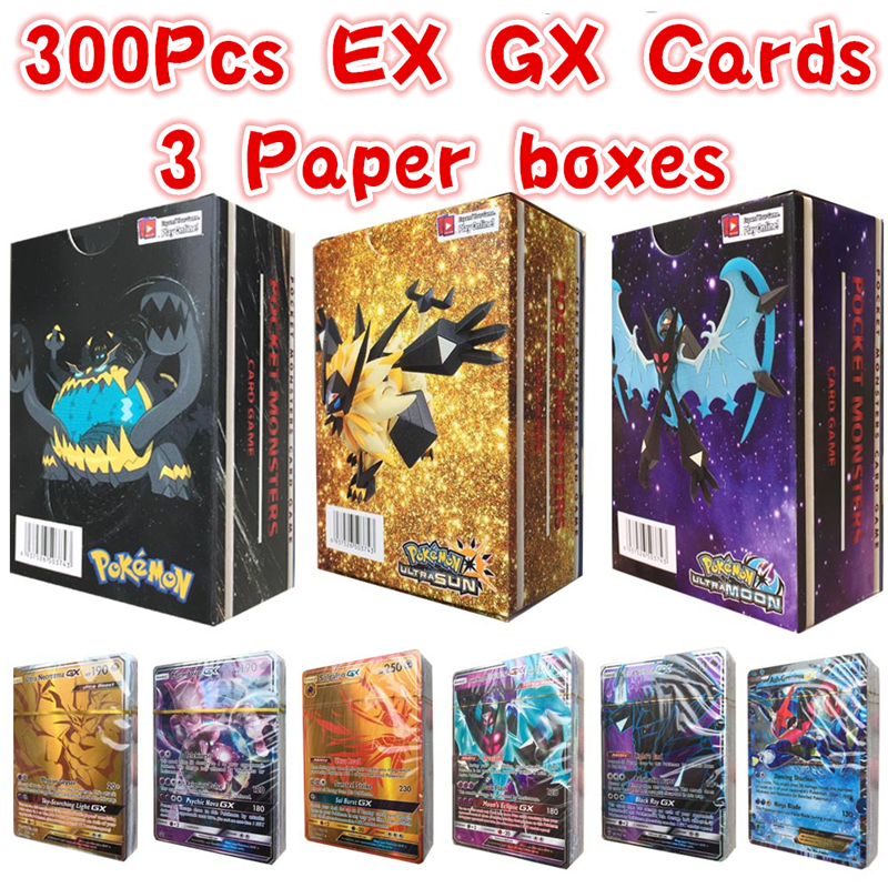 300pcs/set Magic Flash Pokemon Tag Team Cards 195 GX 80EX 25MEGA English No Repeat 200 PCS Game Trading Battle Carte Kids Toys