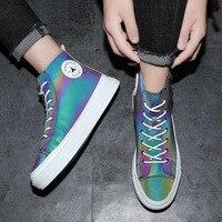 Chameleon Einfarbig Sommer Hight top Schuhe Trendy Schuhe Sommer Trend High top Bord Schuh. Männer der Trend Trendy Schuhe Männer der Versa Schuh-Regale & Organizer    -