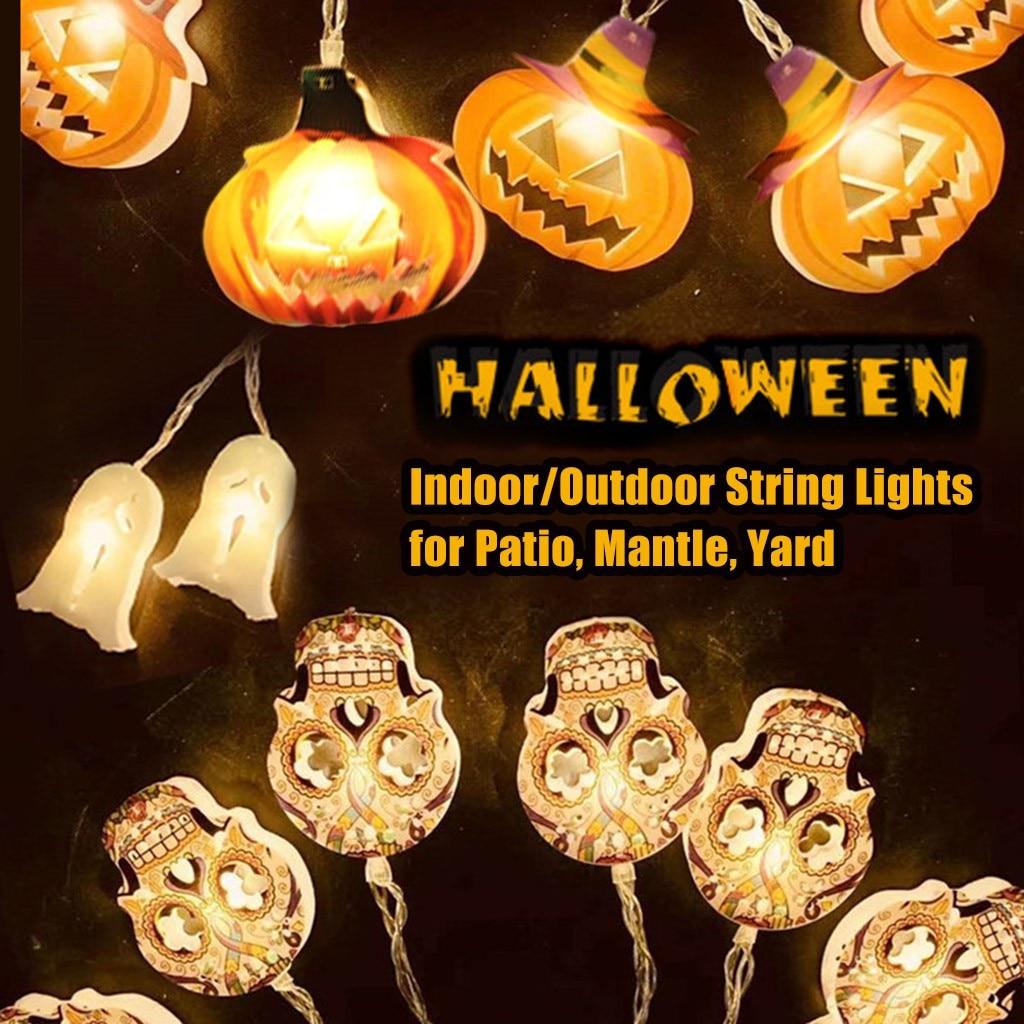 هالوين اليقطين LED سلسلة أضواء فانوس زينة 3 في 1 رائعة يتحدث المتحركة اليقطين المدمج في مكبر الصوت العارض # زخارف حفلات DIY    - AliExpress