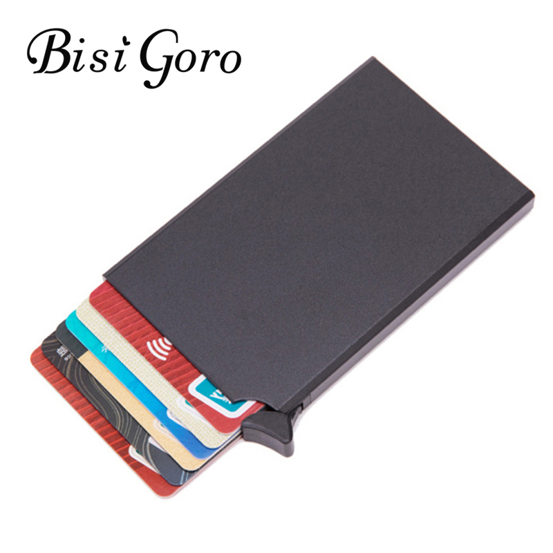 BISI GORO RFID Credit Card Holder Anti-theft Smart Wallet Thin ID Card Case 2019 Unisex Automatically Solid Metal Card Wallet