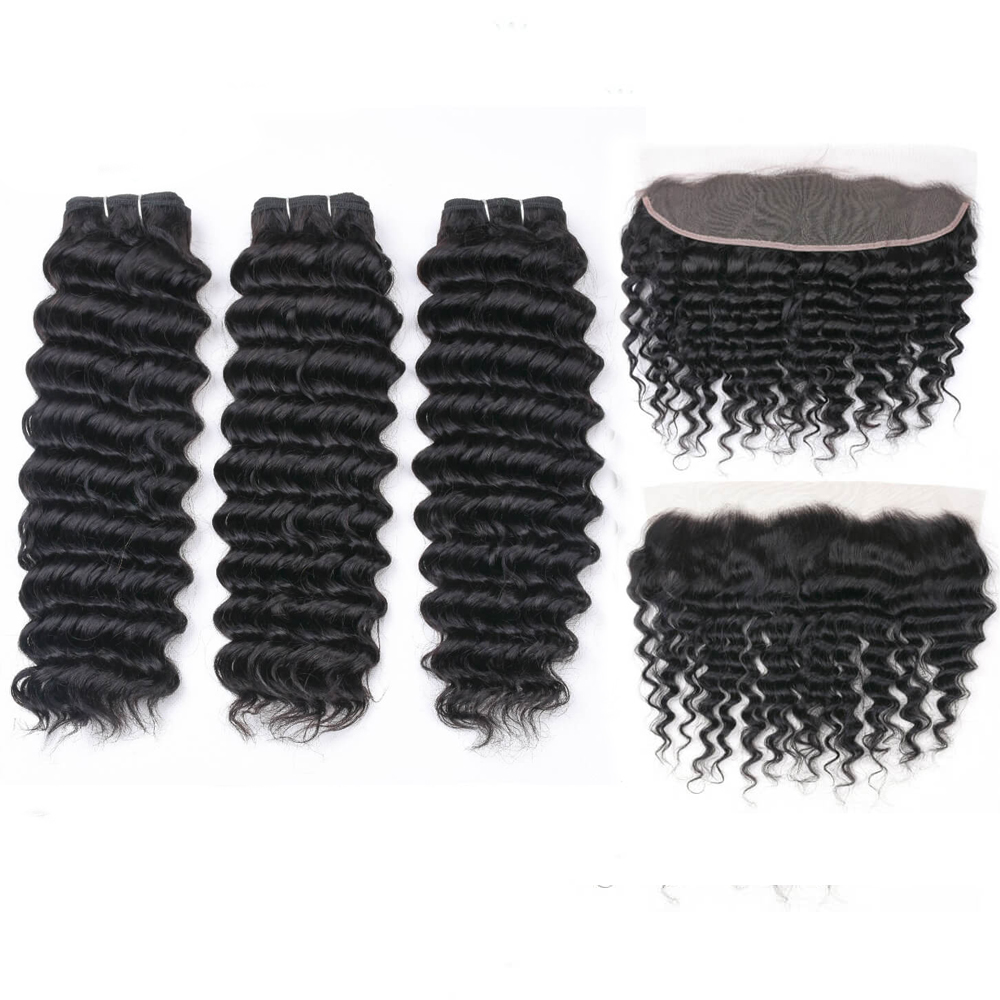 MQYQ Deep Wave Bundles With Frontal Remy Malaysian Human Hair Bundles With Closure Hair Weave 3 Bundles With 13x4 Frontal