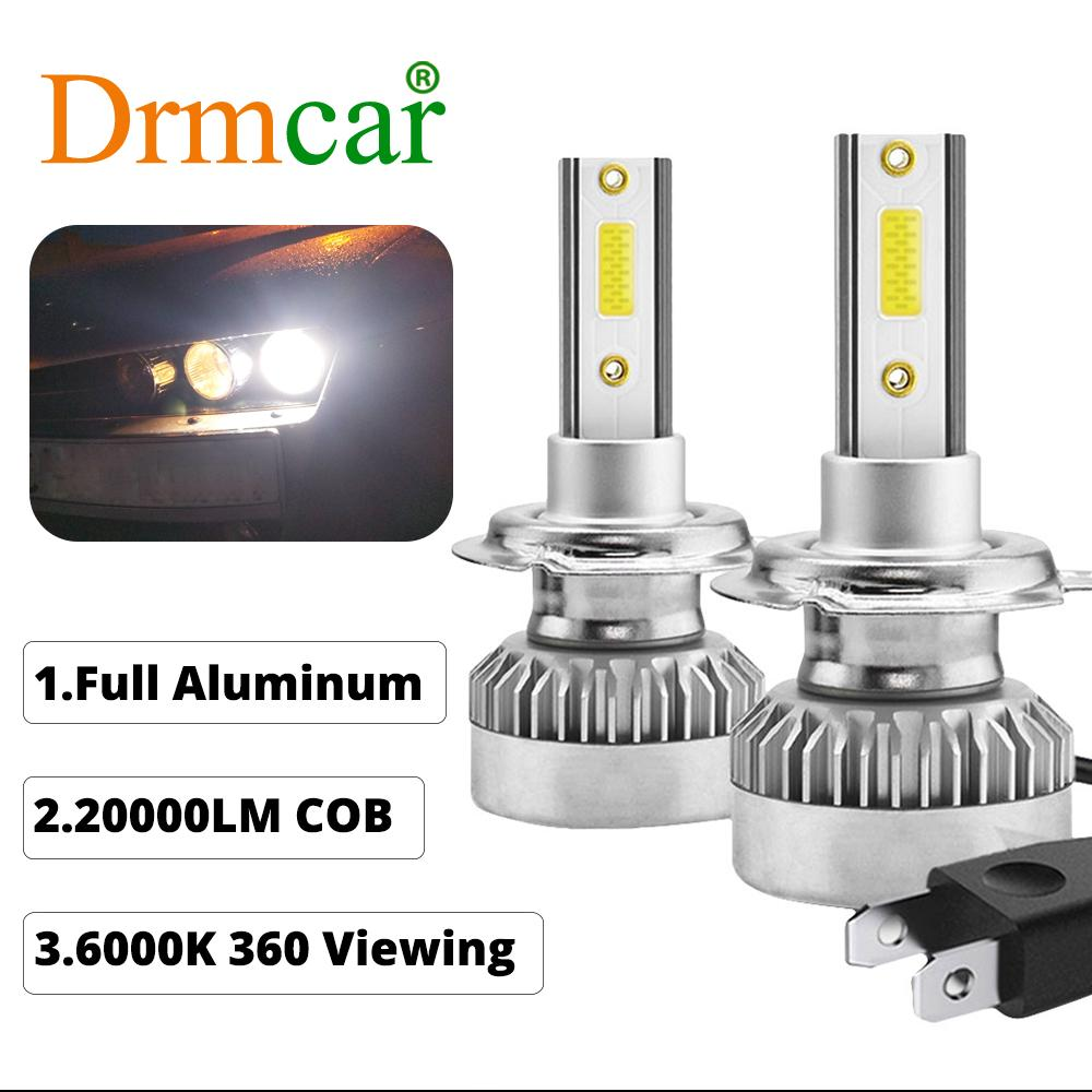 2pcs Car <font><b>Headlights</b></font> H7 6000k 110w 20000lm White Car <font><b>Led</b></font> Light <font><b>360</b></font> Degree Viewing Cob <font><b>Led</b></font> Full Aluminum Fast On/off image