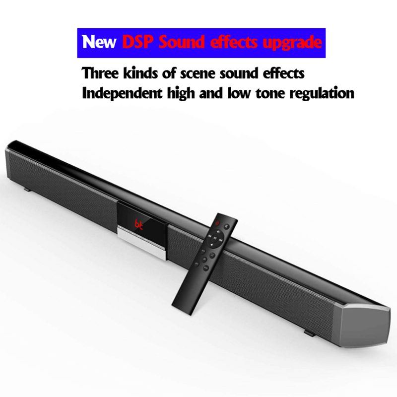 Soundbar com subwoofer para tv, home theater, wireless, bluetooth 5.0, 40w, com controle remoto, aux-in, coaxial óptico para pc