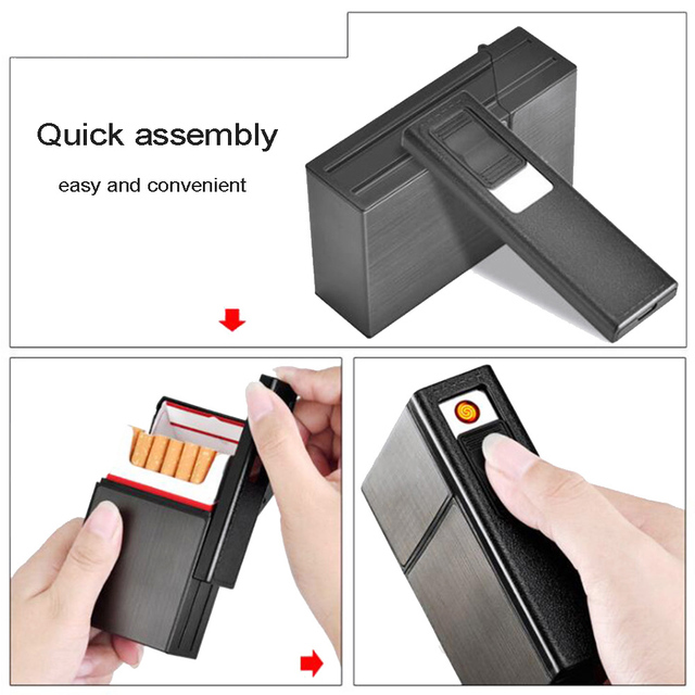 2 in 1 cigarette case USB rechargeable cigarette lighter for smoking