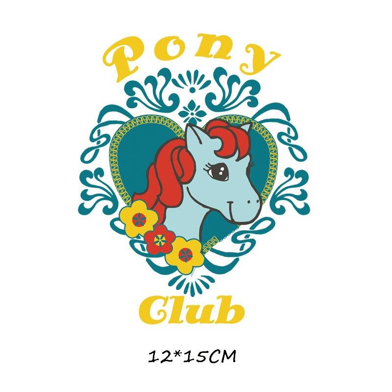 Мультяшный пони, единорог, динозавр, железная нашивка, теплопередача, одежда в полоску, футболка для мальчиков и девочек, сделай сам, волшебная наклейка на заказ - Цвет: ZT0778