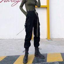 Черные брюки карго женские эластичные уличные в стиле Харадзюку