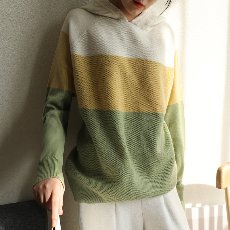 New High Quality 100% Wool Knitted Sweater Women Sweater And Pullover Fashion Hooded Female Pullover Women Sweater Pull Femme