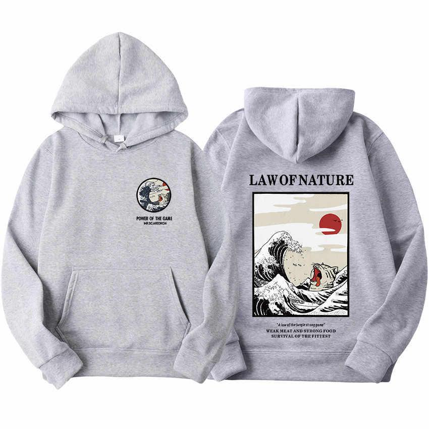 هوديس الرجال النساء أحدث اليابانية مضحك القط موجة أغطية رأس مطبوعة 2019 الشتاء اليابان نمط الهيب هوب بلوزات غير رسمية الشارع الشهير