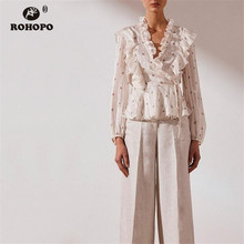 ROHOPO Paramecium Printed Long Sleeve Tunic White Blouse Overlocked V Collar Butterfly Shoulder Ruffles Top Shirt #9236