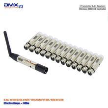 14 Uds./lote 1 Uds. Transmisor y 13 Uds. Receptor inalámbrico DMX512 transmisor para Control de iluminación de escenario