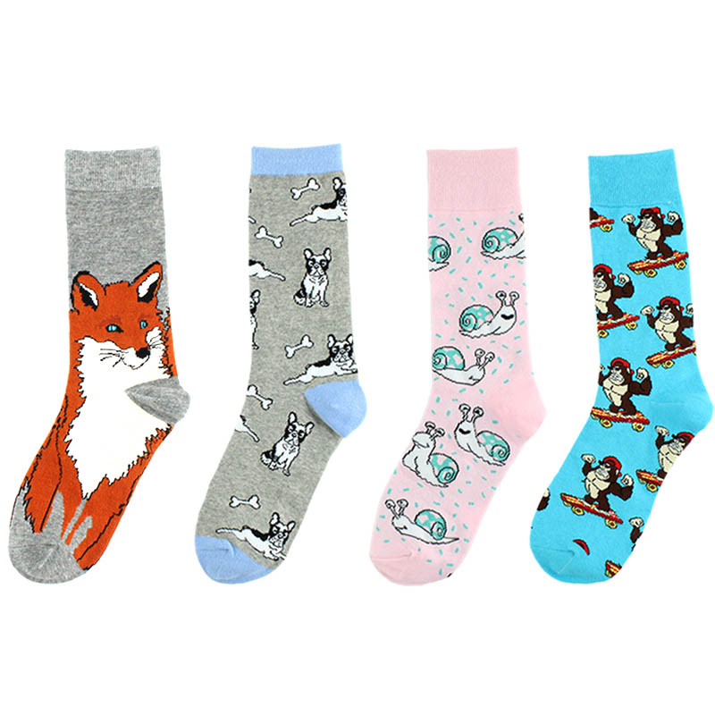 Tide New Socks Women Creative Casual Funny Sock Unisex Harajuku Cartoon Monkey Dog Cute Men Socks Hip Hop Harajuku Cotton Sokken