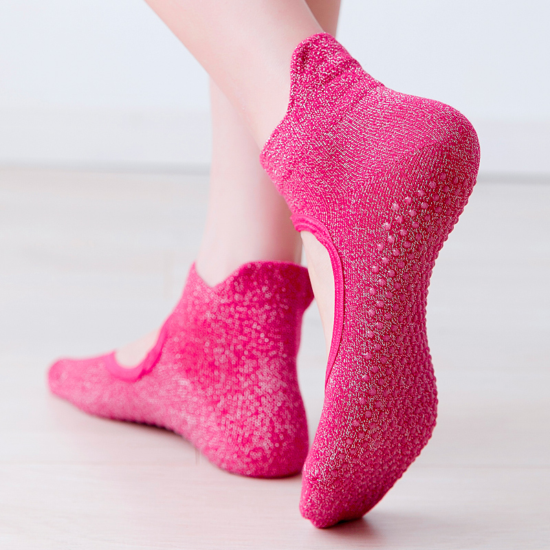 2019 Professional Anti Slip Yoga Socks Women Sports Breathable Pilates Socks Cotton Ballet Heel Protector Dance Socks Slippers
